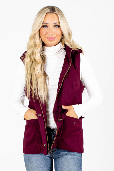 Purple Boutique Vests with Pockets for Women