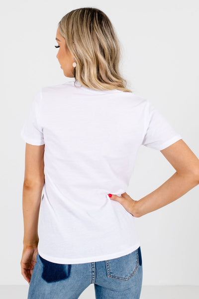Women's White Round Neckline Boutique Graphic T-Shirt