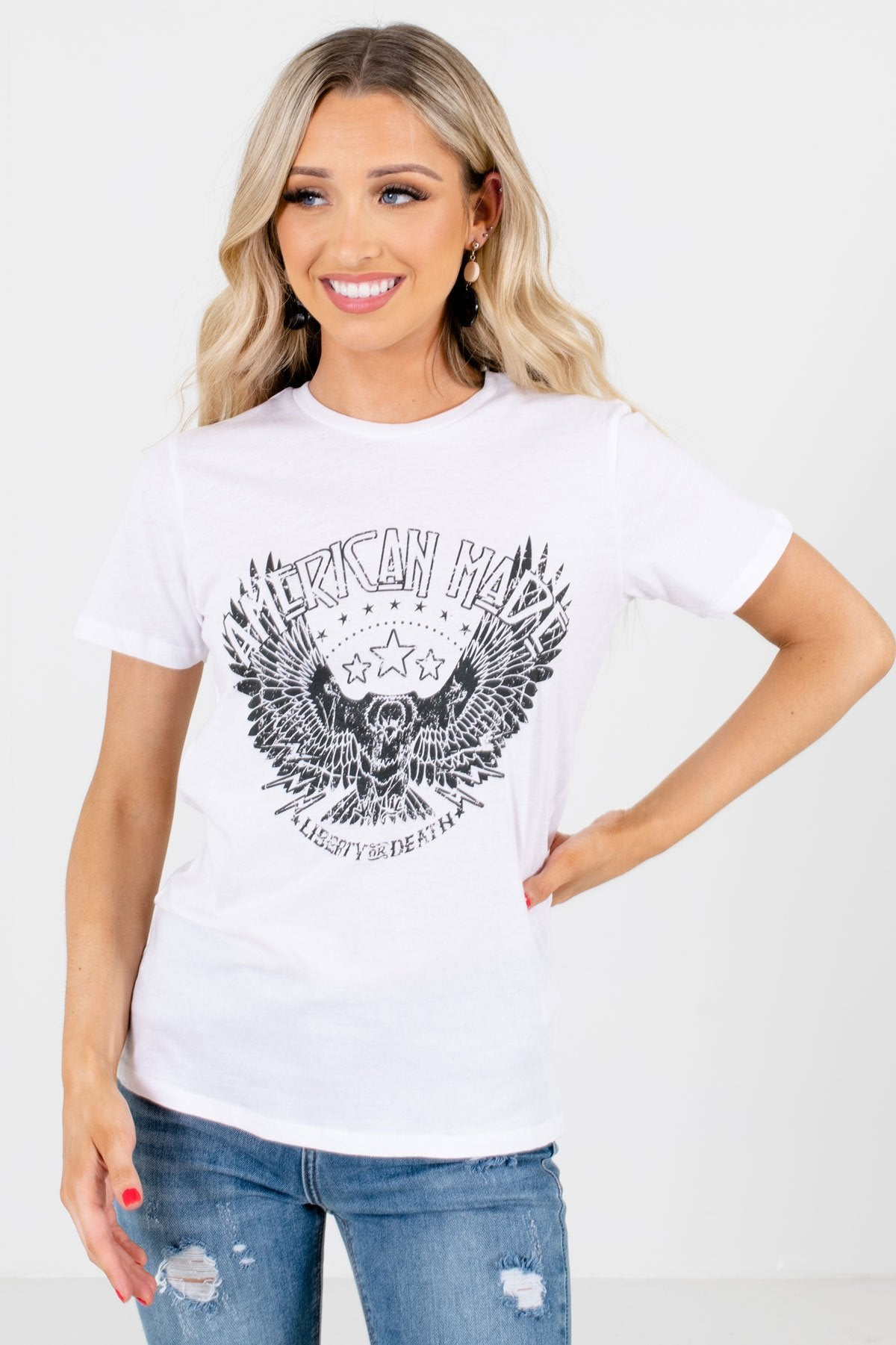 "White ""American Made"" Lettering Boutique Graphic Tees for Women"