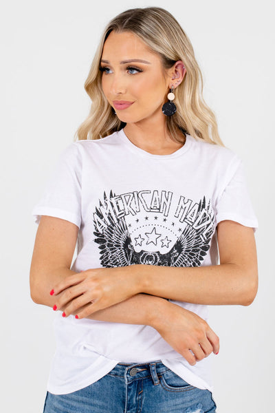 Women's White Casual Everyday Boutique Graphic T-Shirts