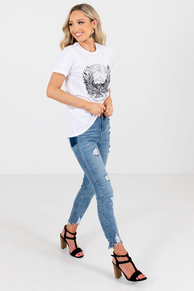 White Cute and Comfortable Boutique Graphic Tees for Women