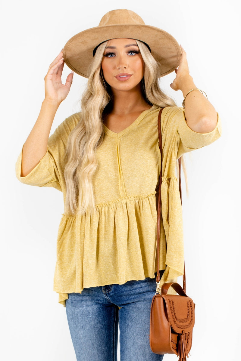 American Honey Peplum Top - Yellow
