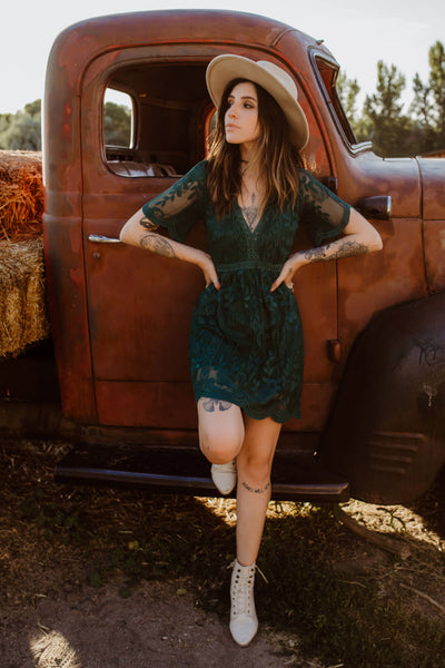 Dark Teal Green Cute Floral Crochet Lace Overlay Mini Dress