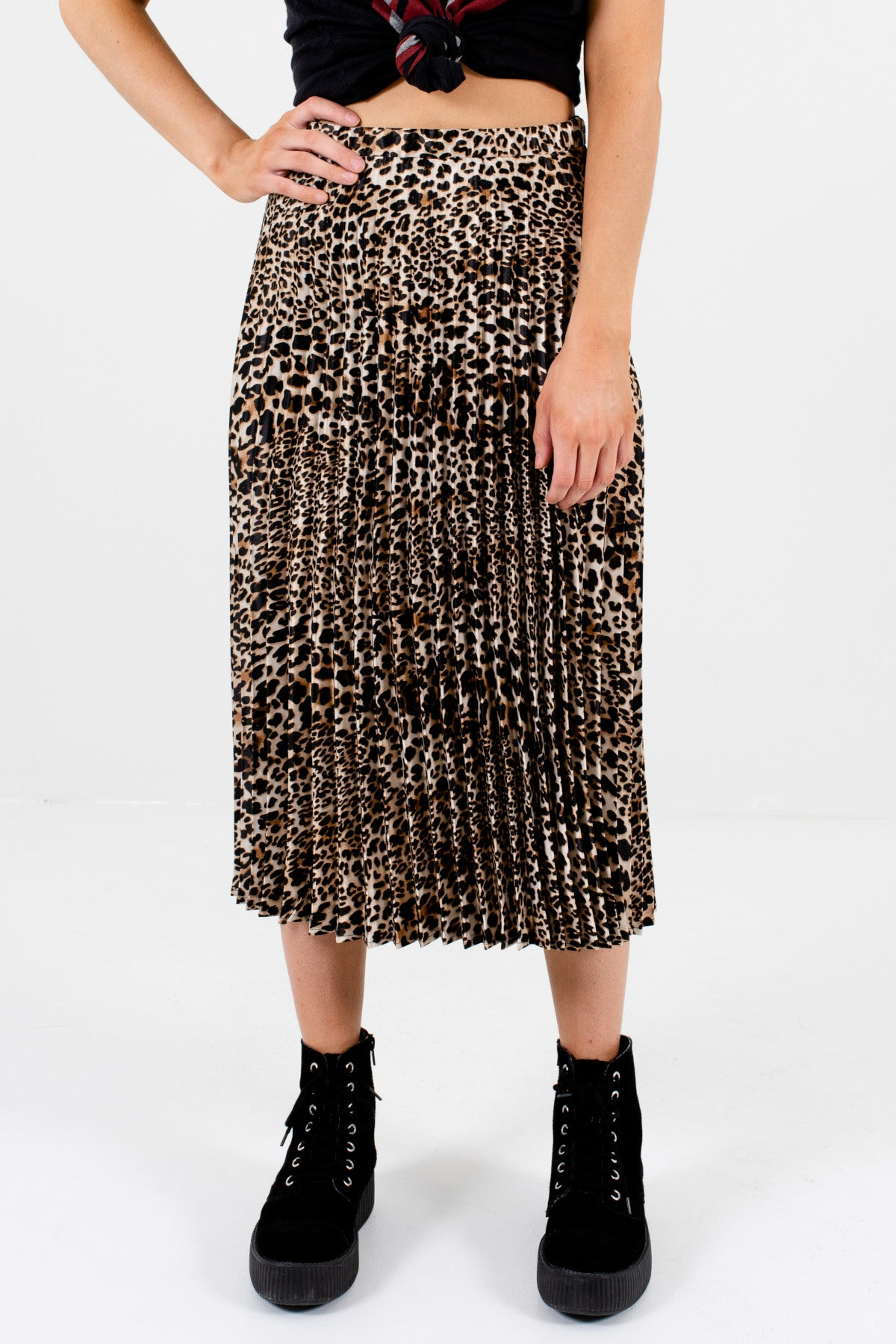 Leopard Print Pleated Midi Skirts Affordable Online Boutique