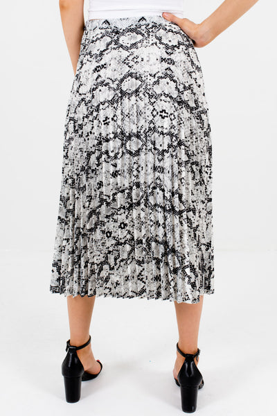 Gray White Black Snake Print Pleated Midi Skirts Affordable Online Boutique