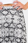 Gray Snakeskin Snake Print Pleated Midi Skirts Affordable Online Boutique