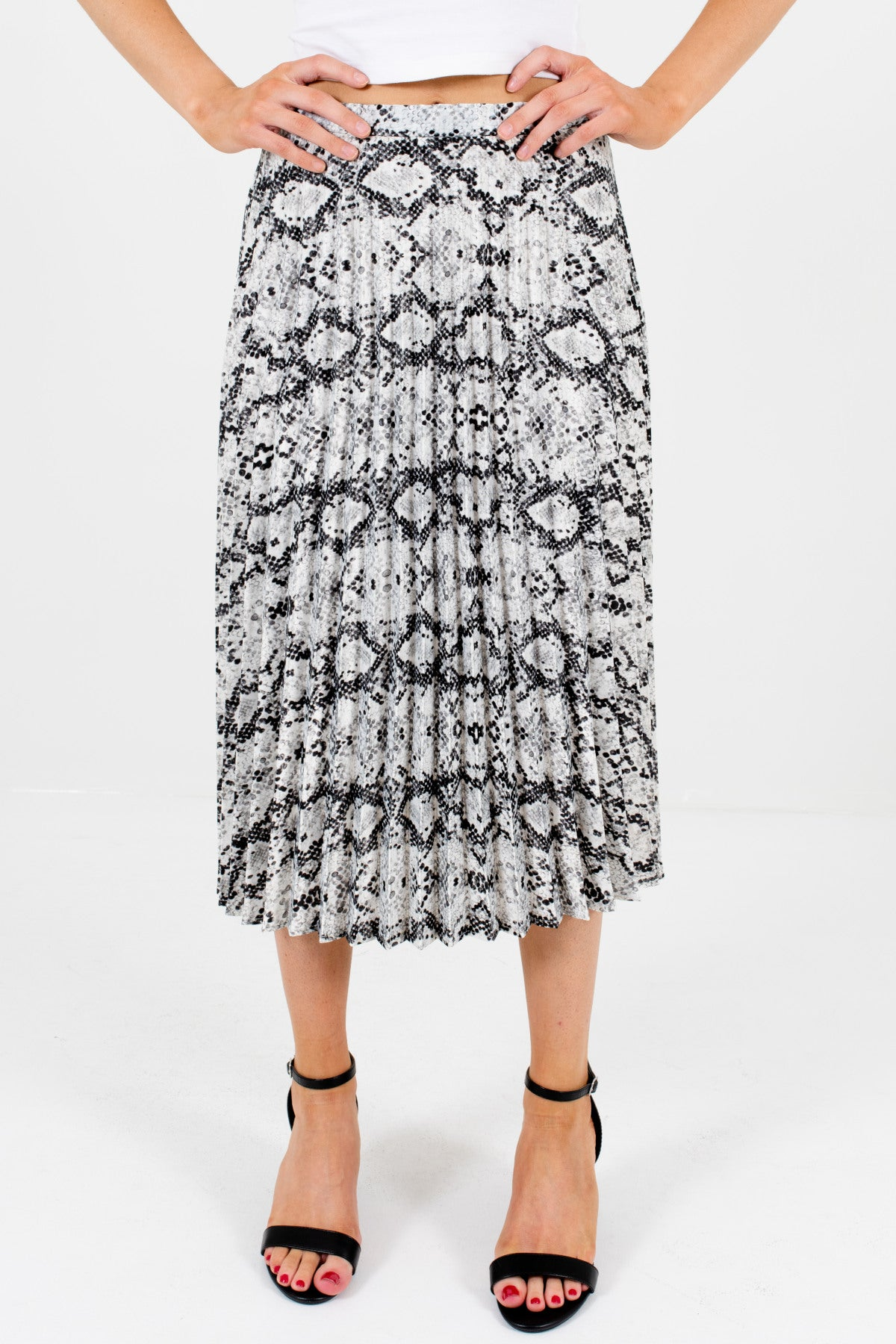 Gray White Black Snakeskin Snake Print Pleated Midi Skirts for Women