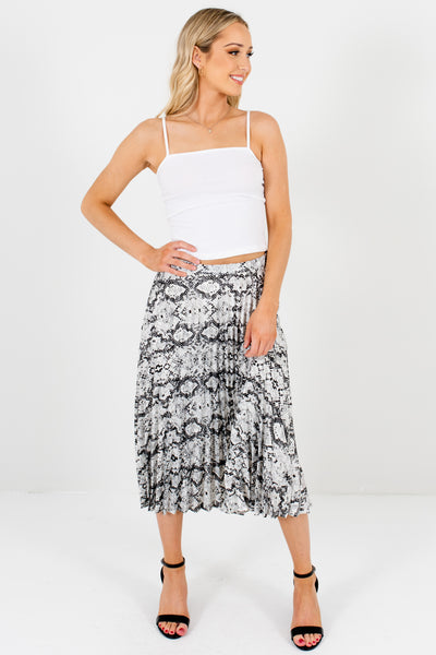 Gray Snakeskin Snake Print Boutique Pleated Midi Skirts