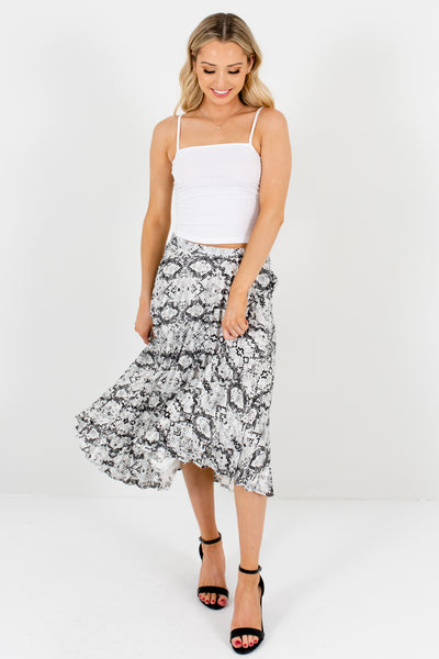 Gray White Black Snakeskin Snake Print Pleated Midi Skirts