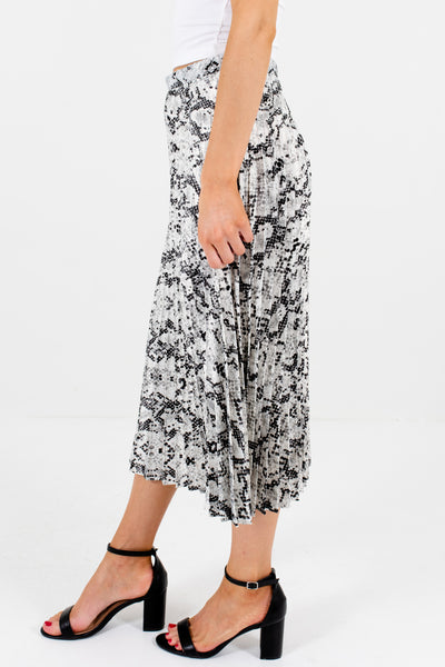 Gray White Black Snake Print Pleated Midi Skirts for Women