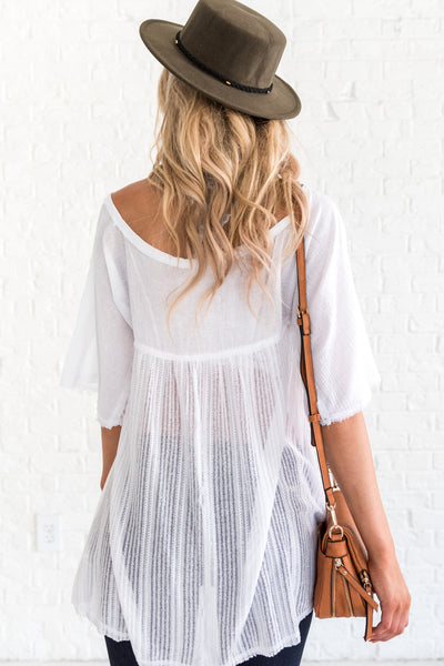white sheer Affordable Online Boutique Clothing