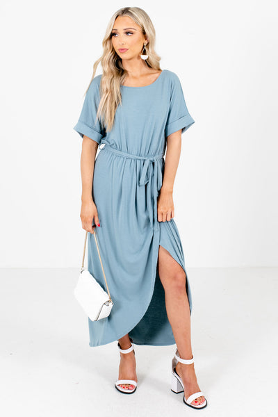 Blue Faux Wrap Style Boutique Maxi Dresses for Women