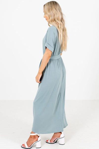 Women's Green Round Neckline Boutique Maxi Dress