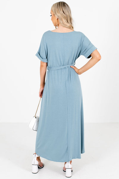 Women's Blue Waist Tie Detail Boutique Maxi Dress