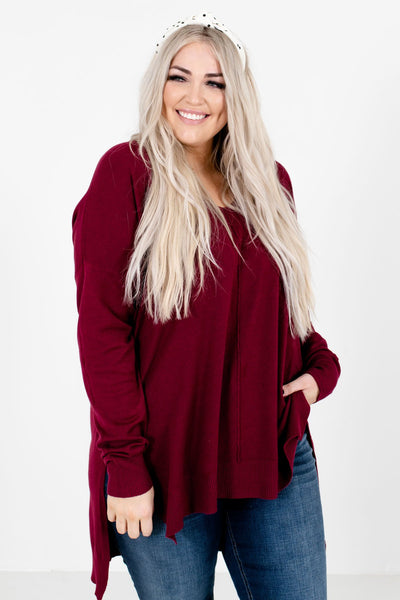 Women's Burgundy Long Sleeve Boutique Sweater