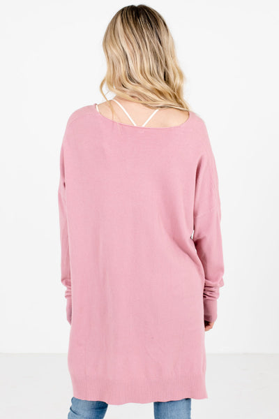 Women's Pink Split High-Low Hem Boutique Sweater