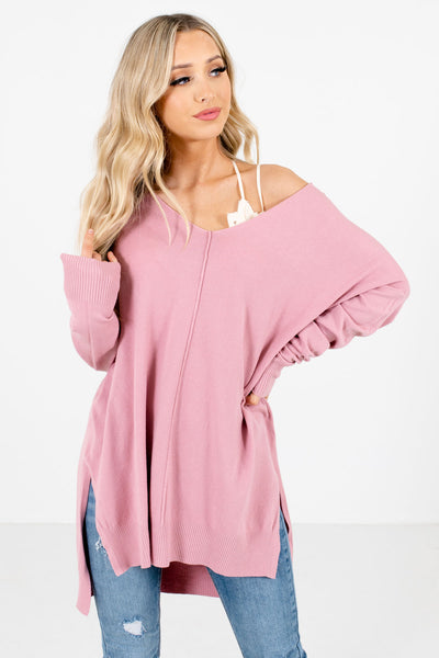 Pink Oversized Relaxed Fit Boutique Sweaters for Women
