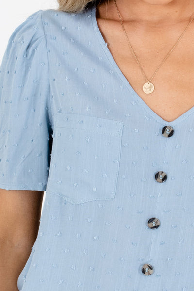 Blue Front Pocket Detail Boutique Blouses for Women