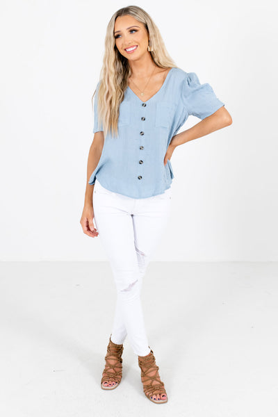 Women's Blue V-Neckline Boutique Blouse