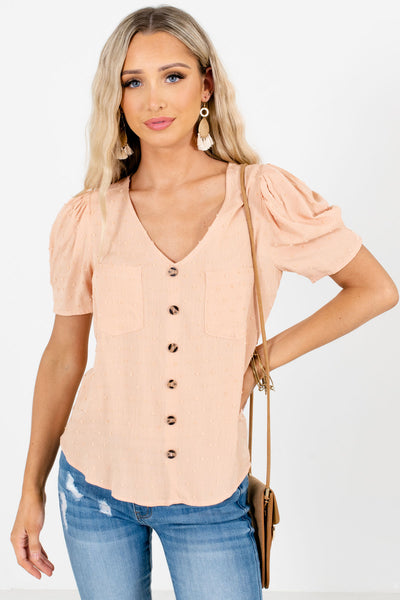 Light Orange Button-Up Front Boutique Blouses for Women