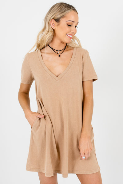 Beige Brown Mineral Wash Material Boutique Mini Dresses for Women