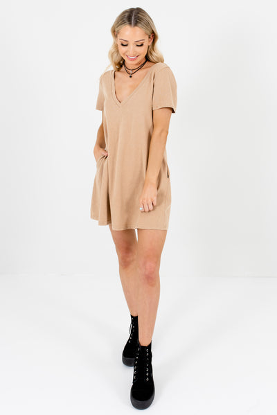 Beige Brown Mineral Wash Cute and Comfortable Boutique Mini Dresses for Women