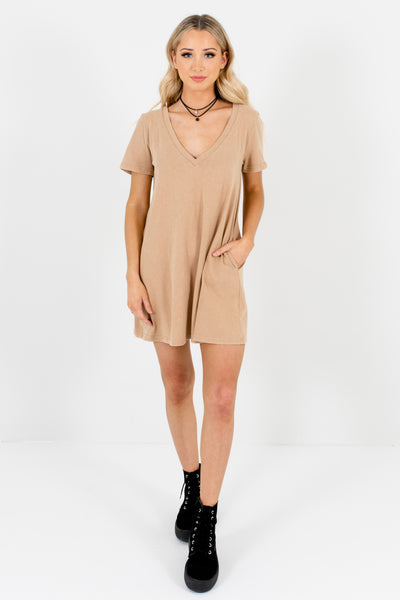 Beige Brown Boutique Mini Dresses with Pockets for Women