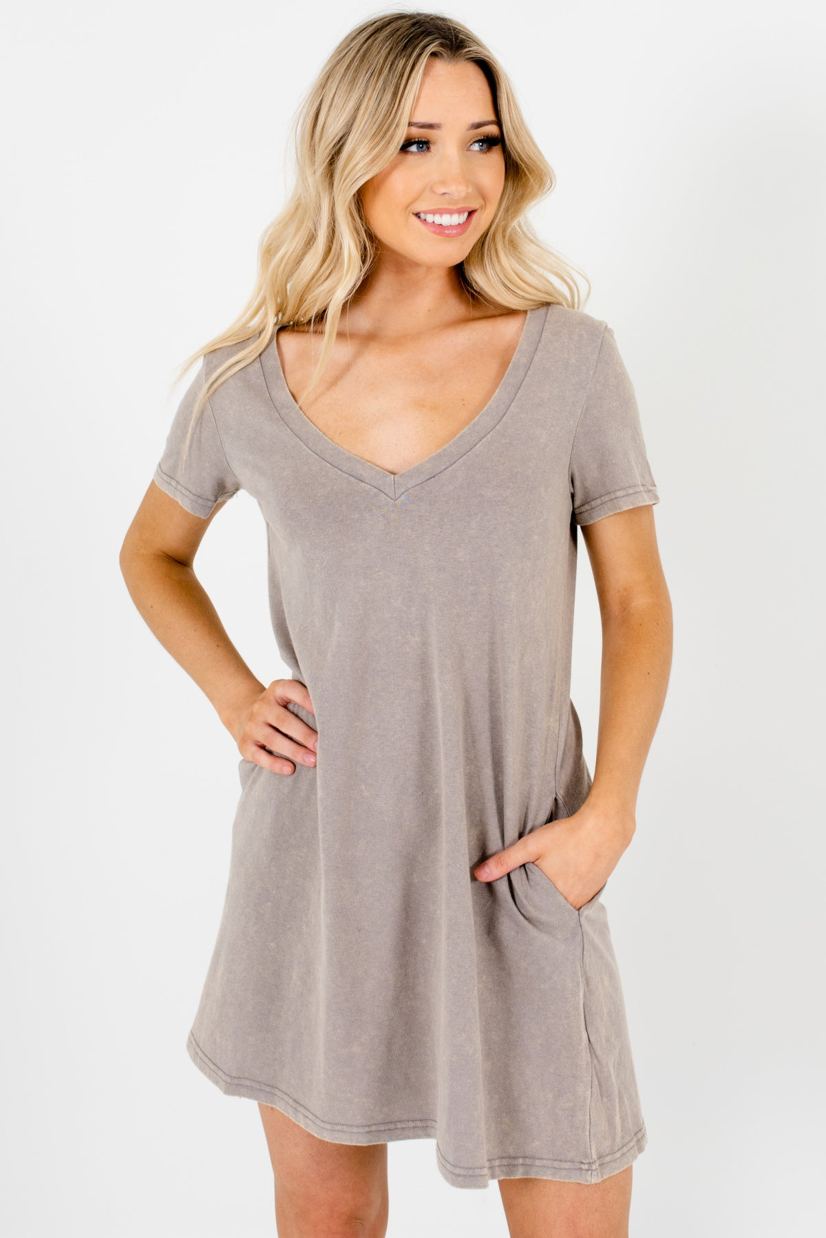 Gray Mineral Wash Material Boutique Mini Dresses for Women