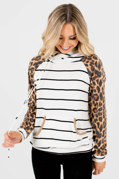 White Black Brown Leopard Print Striped Boutique Hoodies for Women