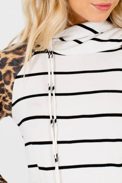 White Striped Animal Leopard Print Drawstring Hoodies for Women