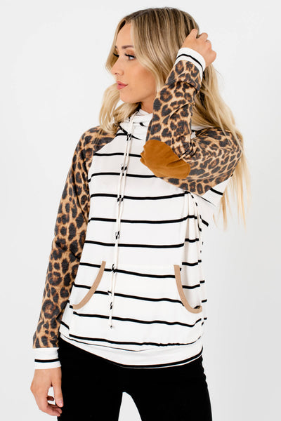White Striped Leopard Print Colorblock Hoodies Affordable Online Boutique