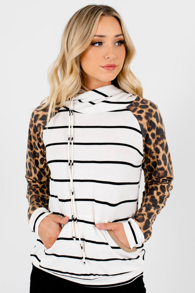 White Brown Black Leopard Print Striped Colorblock Hoodies