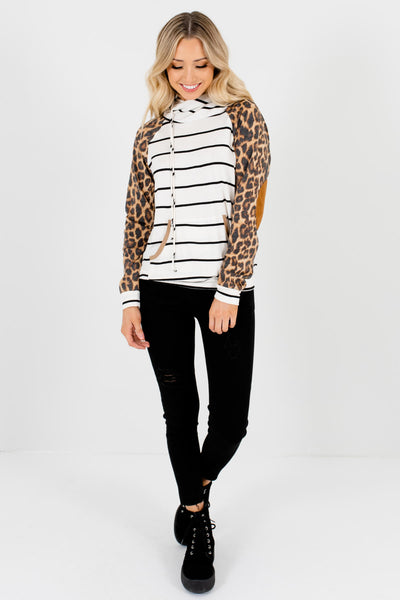 White Black Brown Striped Leopard Print Color Block Womens Hoodies