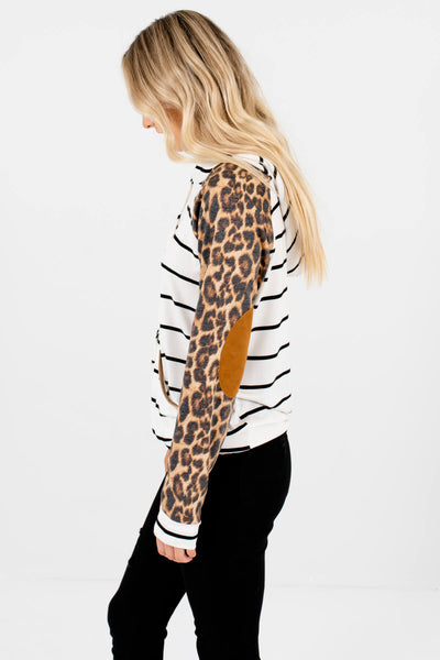 White Striped Leopard Print Colorblock Womens Hoodies with Elbow Patches