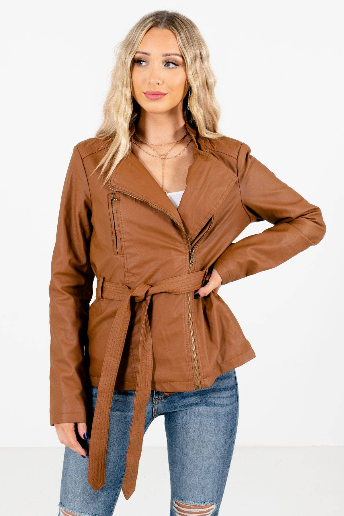 Brown Faux Leather Material Boutique Jackets for Women