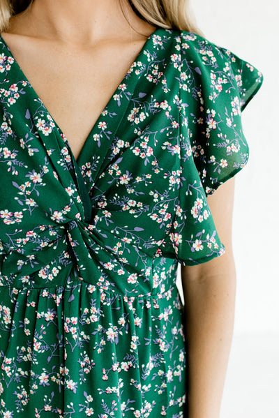 Green Floral Affordable Online Boutique Clothing for Women