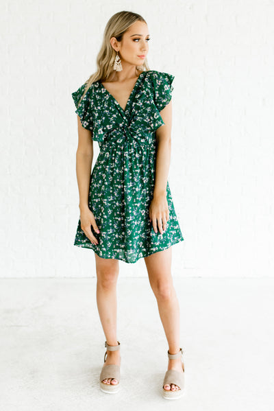 Green Floral Cute Fully Lined Boutique Dresses for Women