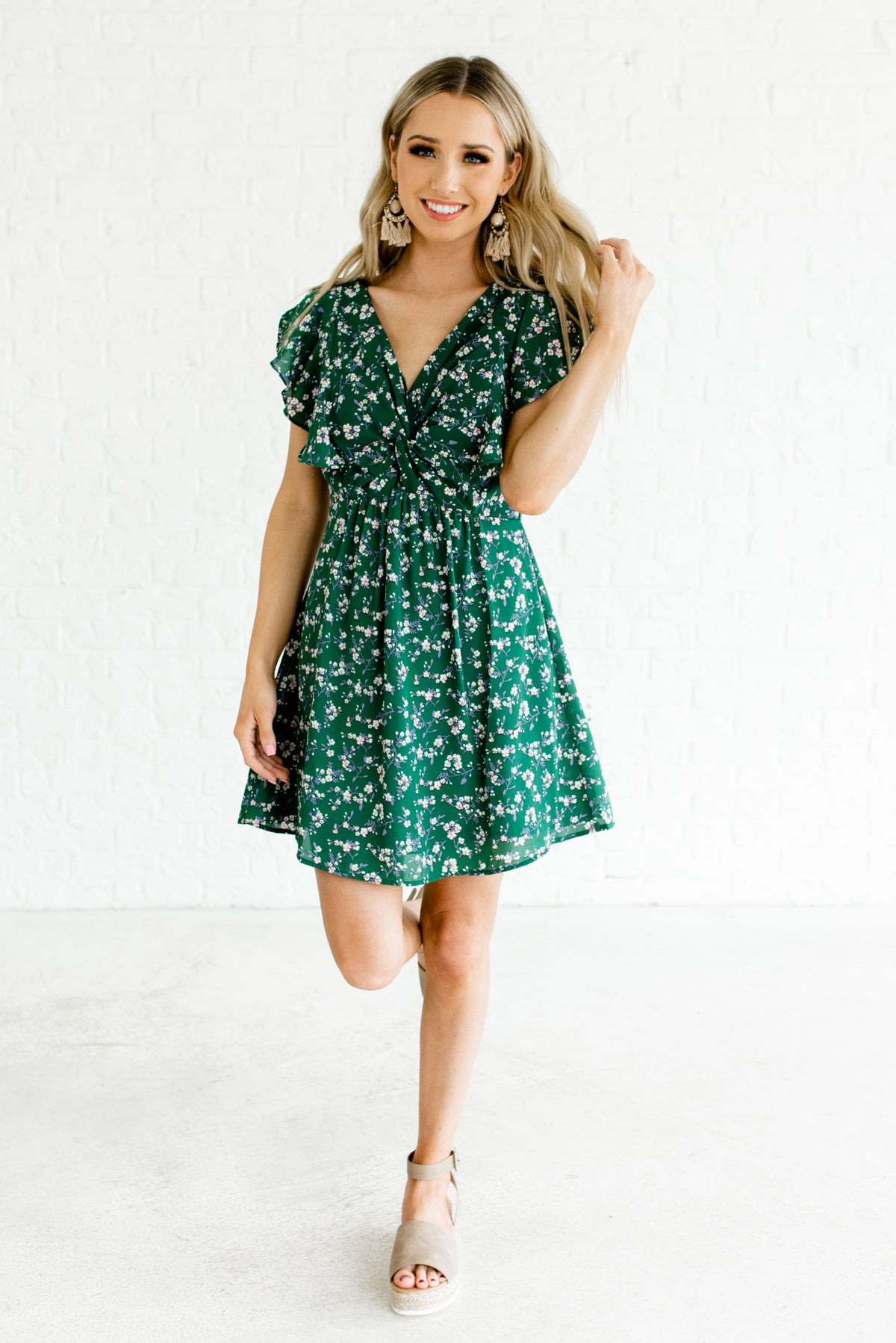 bf035613903b Green Floral Apple Blossom Patterned Boutique Mini Dresses for Women