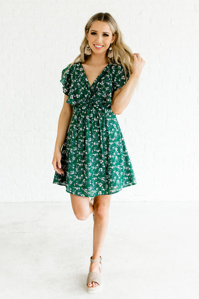 Green Floral Apple Blossom Patterned Boutique Mini Dresses for Women