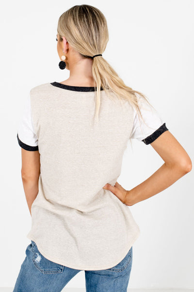 Women's Taupe Casual Everyday Boutique T-Shirts