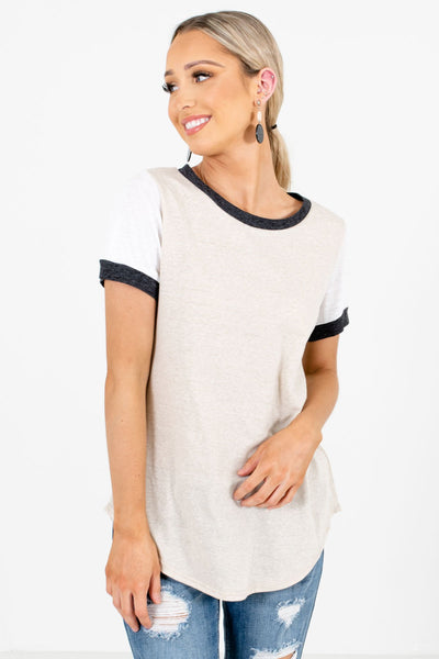 Light Taupe Brown Lightweight High-Quality Boutique Tees for Women