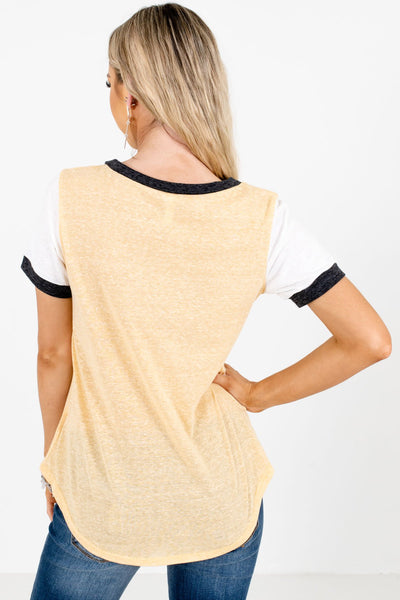 Women's Yellow Raglan Style Boutique Tees