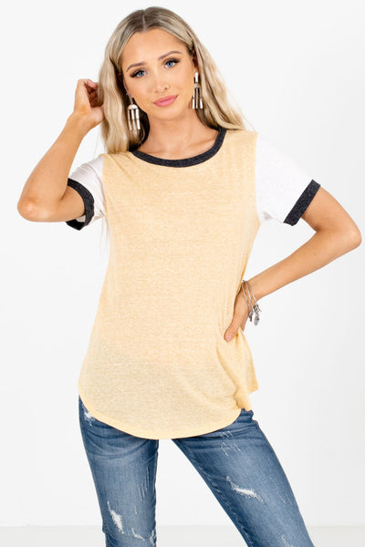 Yellow Color Block Style Boutique T-Shirts for Women