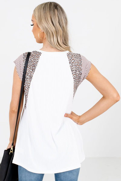 Women's White Animal Print Patterned Boutique Top