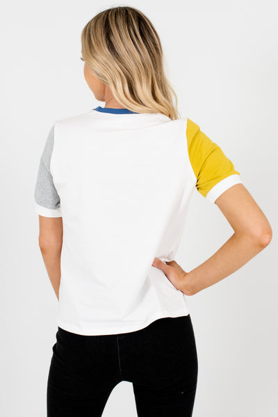 Women's White Boutique Ringer Style Tee