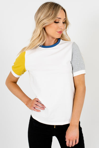 Women's White High-Quality Stretchy Material Boutique T Shirt