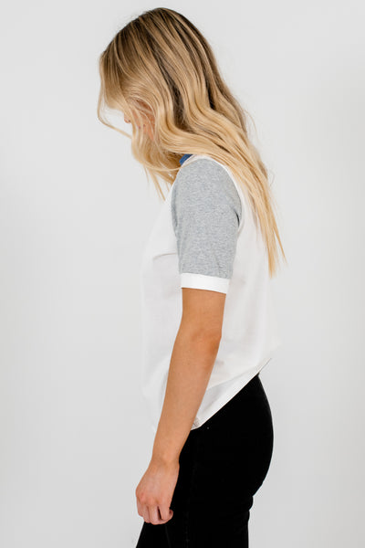 White Color Block Casual and Comfortable Boutique T-Shirts for Women