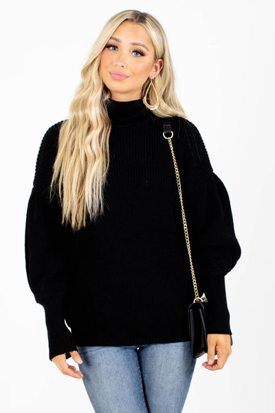 Black Cute and Comfortable Boutique Sweaters for Women