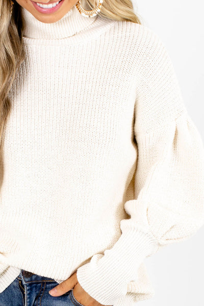 Women's Cream Knit Material Boutique Sweater