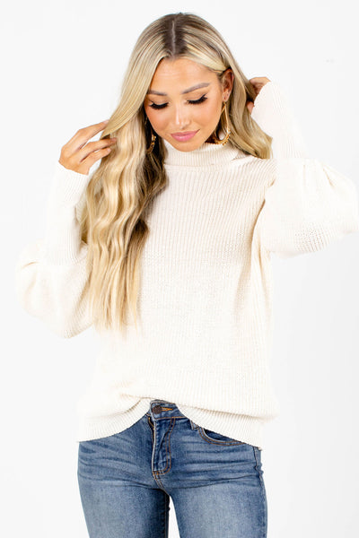 Women's Cream Balloon Sleeve Boutique Sweater